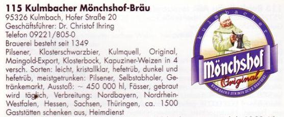 Quelle: Mack, S.: Die neue Fränkische Brauereikarte. Großgescheidt, 1997.