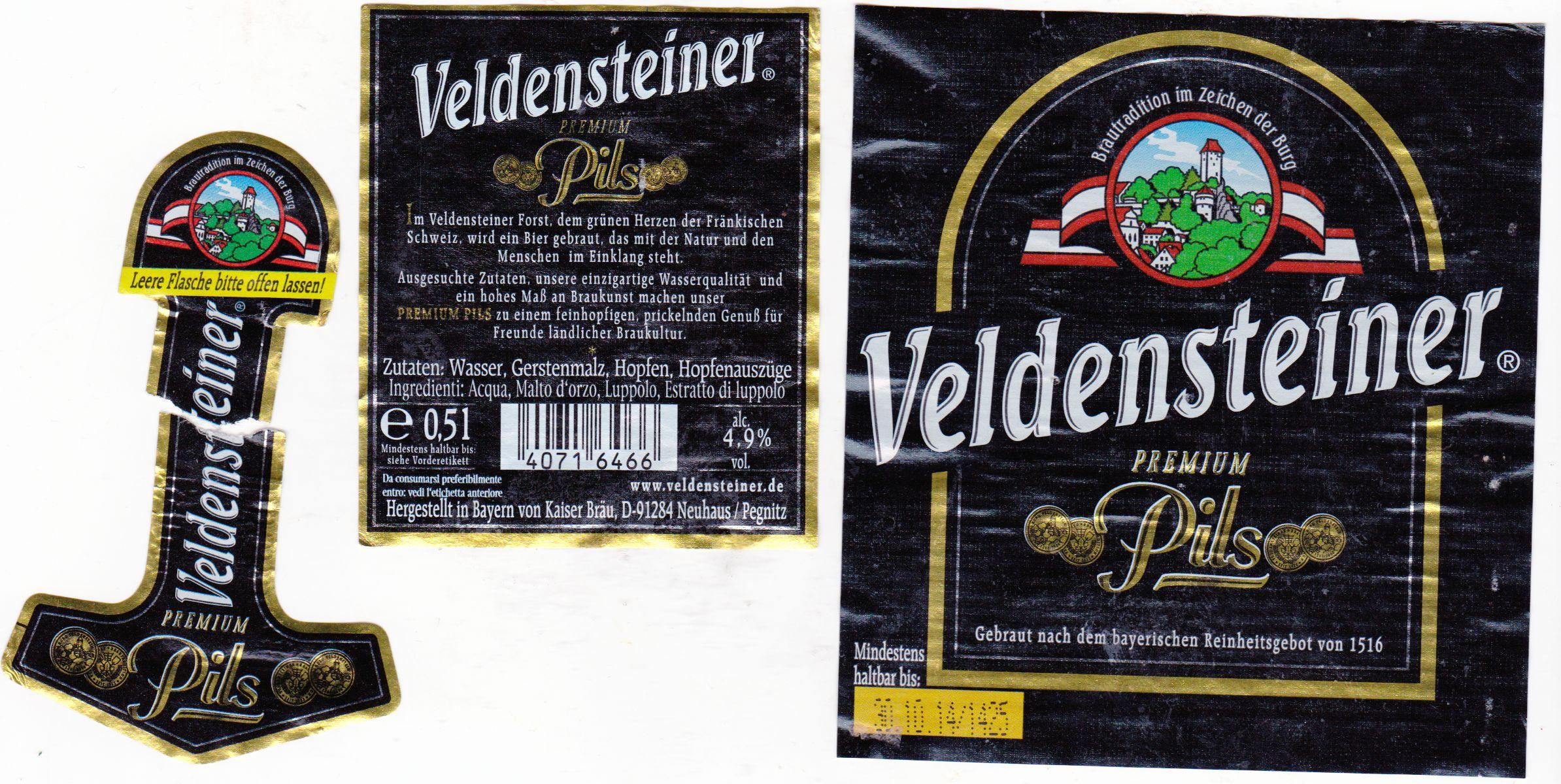 Brauerei Kaiser/Neuhaus: Veldensteiner Premium Pils (Nr. 1330 ...
