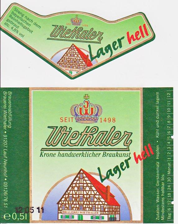 Brauerei Wiethaler/Neunhof: Lager Hell (Nr. 102)