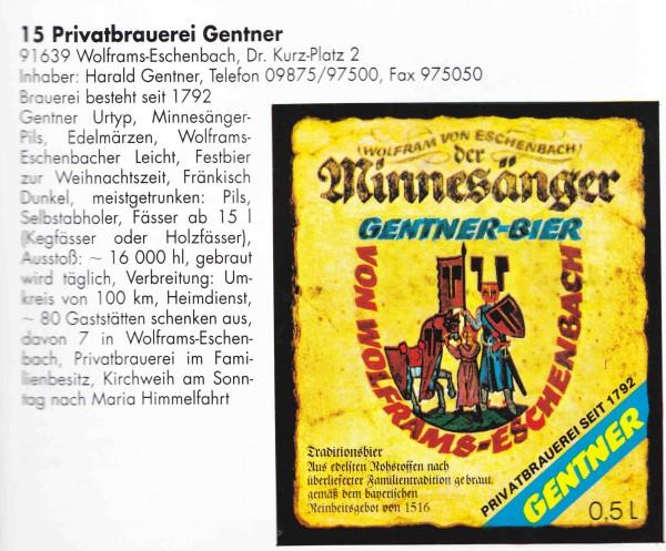 Optisch kein großer Unterschied: So sah das Minnesänger Pils aus, als es noch aus Wolframs-Eschenbach kam. (Quelle: Die neue Fränkische Brauereikarte. Großgschaidt, 1997.)