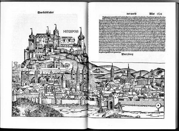 Abbildung von Würzburg/Herbipolis in der Schedelschen Weötchronik File:Schedelsche Weltchronik d 160.jpg Quelle: https://commons.wikimedia.org/wiki/Category:Schedelsche_Weltchronik?uselang=de