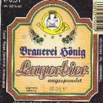 Brauerei Hönig/Tiefenellern: Lagerbier ungespundet (Nr. 8)