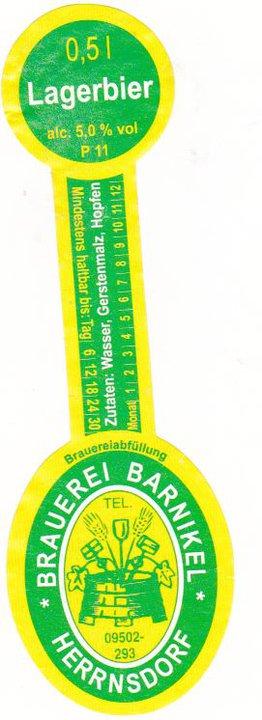 Brauerei Barnikel/Herrnsdorf: Lagerbier (Nr. 127) †